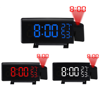 Projection Alarm Clock Dual Alarm Curved Screen Digital Dimmable Clock with FM Radio, Snooze Mode, Dual USB Charging Port