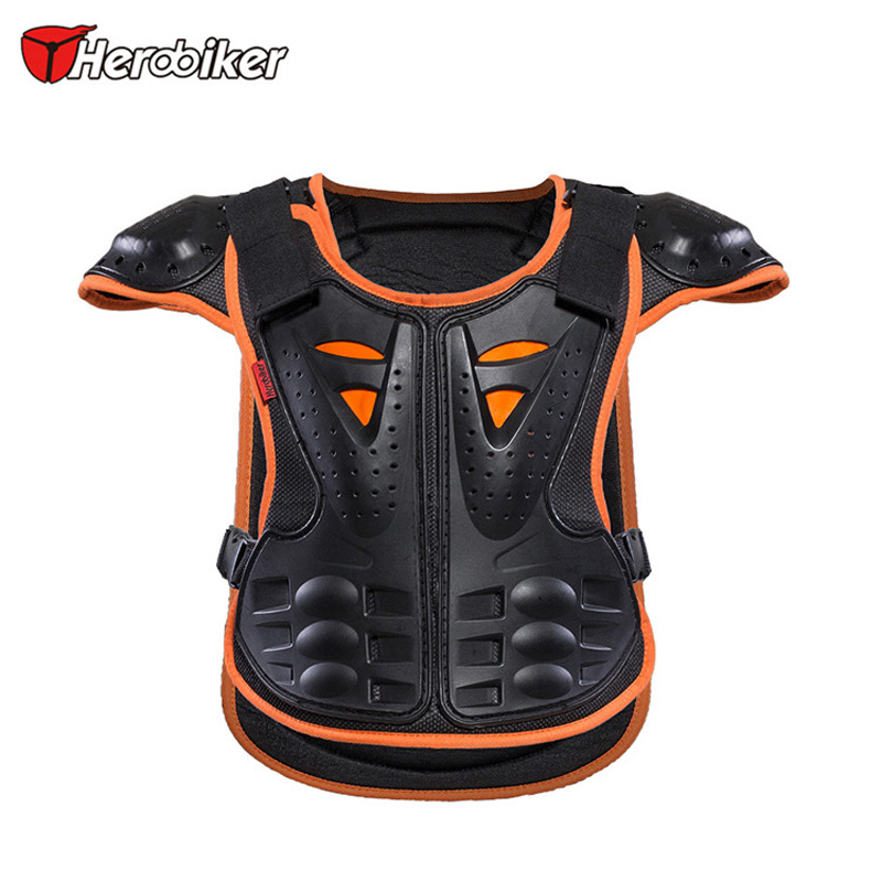 ФОТО HEROBIKER Kids Armor Motocross Racing Jackets Child Skiing Skating Spine Shoulder Chest Guard Mesh cloth fit 4~10 year olds