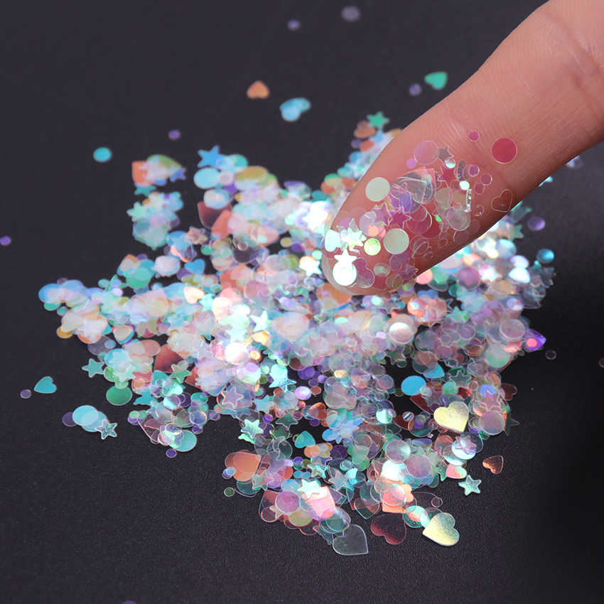 Dolce Cuore di Amore Glitter per unghie Paillettes AB di Colore Decolorazione Paillettes Nail Shinning Glitter per unghie Art Decor Fiocchi Decor Tools