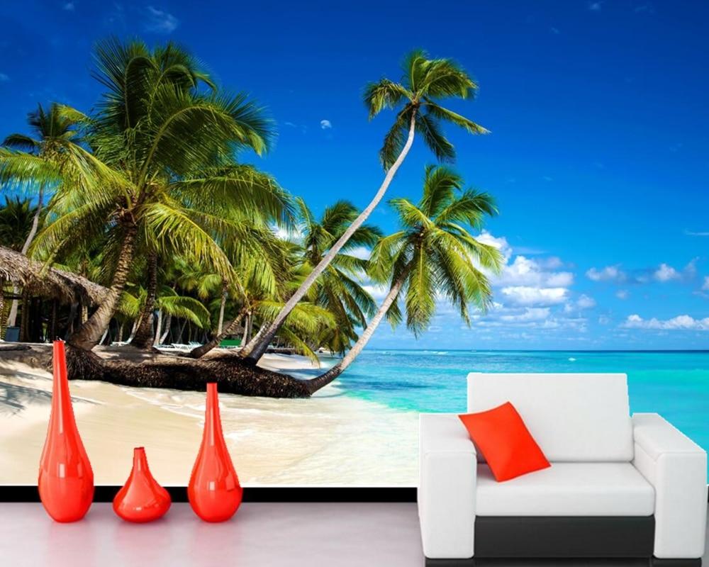 papel de parede Sky and sea coconut beach scenery 3d nature wallpaper,living room tv sofa wall bedroom restaurant custom murals