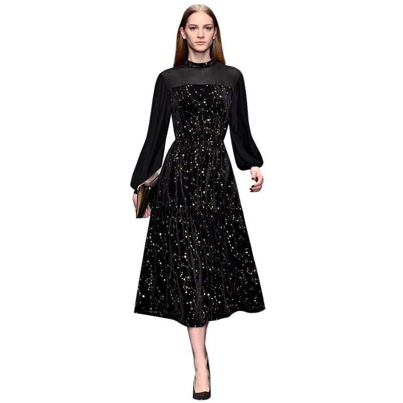 gold stars gilding see through sheer mesh patchwork black velvet dress stand collar long sleeve elastic