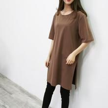 New Harajuku Plus size  Long T shirts Summer Women Loose Slit Femme Tops Cotton Streetwear Tshirt Short sleeve Ladies t-shirt