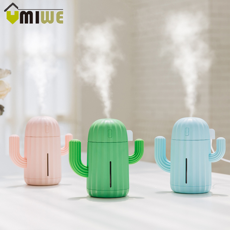 Portable USB Mini Cactus Shape Air Humidifier Essential Oil Diffuser Aroma Diffuser with Night Light for Home Bedroom Office все цены