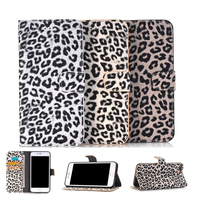 Wholesale Phone Case For Apple Iphone 6 Iphone6s Plus Wild Leopard Fur Leather Wallet Flip Case