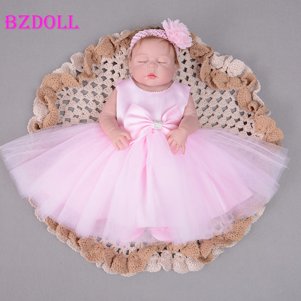 55cm Full Body Silicone Reborn Baby Doll Toy Realistic Newborn Alive Bebe Sleeping Baby Girl With
