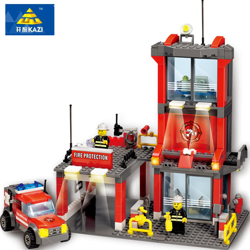 KAZI 8052 Legoings City Fire Station 300pcs Building Blocks City Truck Model Toy Bricks Firefighter Building Toys for Children new classic kazi 8051 city fire station 774pcs set building blocks educational bricks kids toys gifts city brinquedos xmas toy