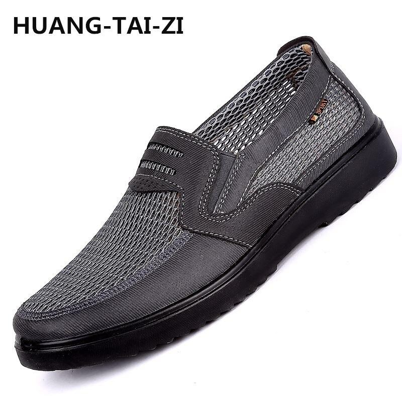 Hommes chaussures 2018 nouveaux arrivants hot mesh respirant Ultra-léger chaussures à lacets hommes baskets printemps confortable hommes vulcaniser chaussures 48 - 6