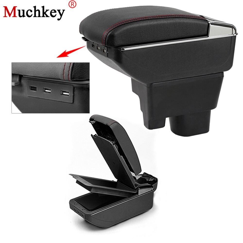 Boîte d'accoudoir USB de voiture pour Geely MK 2009 à 2013 boîte de rangement de Center de voiture avec support de verre cendrier rangeant le repose-bras rotatif