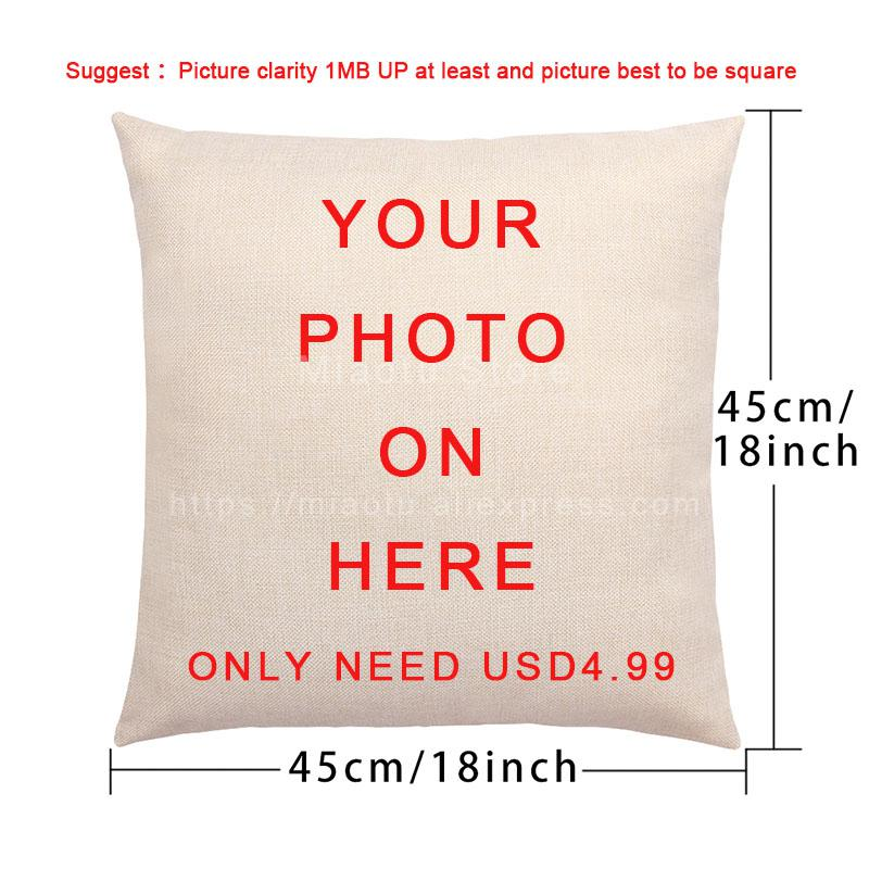 Wedding Pet Family Custom Printing Cotton Linen Pillowcase Customized Gift Case Home Decor For Car Sofa Waist DIY Cushion Cover