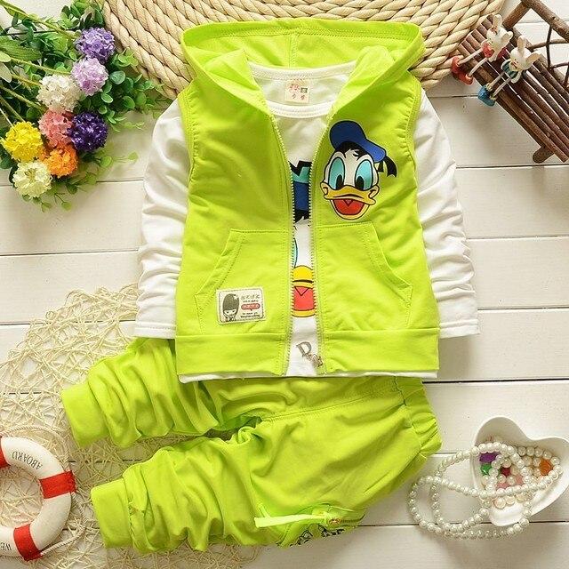 2016 новый Дональд Дак детская одежда мальчик костюм спортивной 3 Жилет + футболка + шорты детские летние набор 25yrs детская одежда