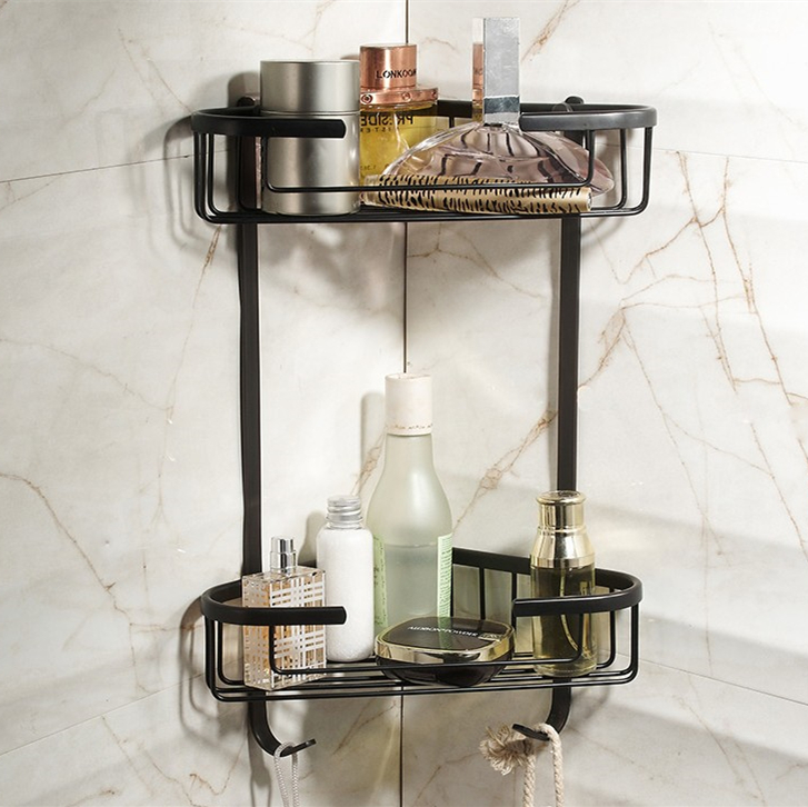 2016  Bathroom Accessories,Wall Mounted Strong Brass Black Finish Shower Shelf &Shower Basket/Fashion Black Bathroom Shelf