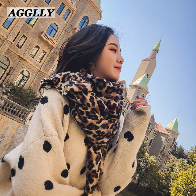 Femme Fashion Women Long Winter Blanke Leopard Printed Shawl All match Lady  Warm Soft Cashmere Scarf Thicken Shawls Scarves A52