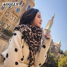 Femme Модный женский длинный зимний шарф с леопардовым принтом, Женский Теплый мягкий кашемировый шарф, толстые шали, шарфы A52