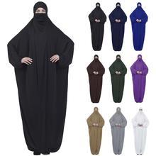 Le Donne musulmane Maxi Preghiera Abaya Copertura Completa Dress Robe Kaftan Arabo Con Cappuccio Islamico Burqa Khimar Velo Niqab Allentato Jilbab Medio est