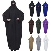 Muslim Women Maxi Prayer Abaya Full Cover Dress Robe Kaftan Arab Hooded Islamic Burqa Khimar Veil Niqab Loose Jilbab Middle East