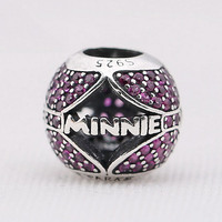 New 925 Sterling Silver Bead Charm Openwork Ball Pave Minnie With Crystal Beads Fit Pandora Bracelet