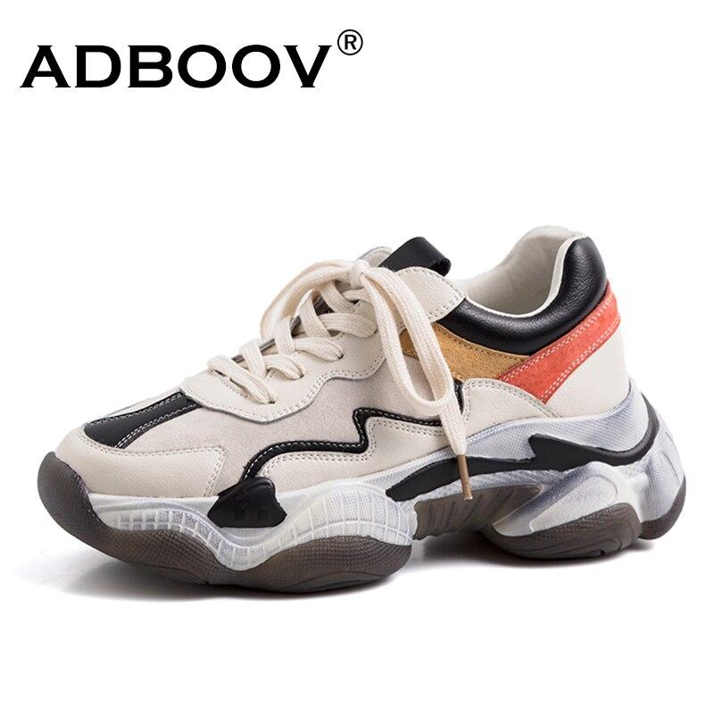 ADBOOV Corss-Amarrado As Sapatilhas Das Mulheres Sapatos de Couro de Vaca Mulher Robusta Plataforma Sneakers Senhoras Formadores Zapatillas Mujer Robusto