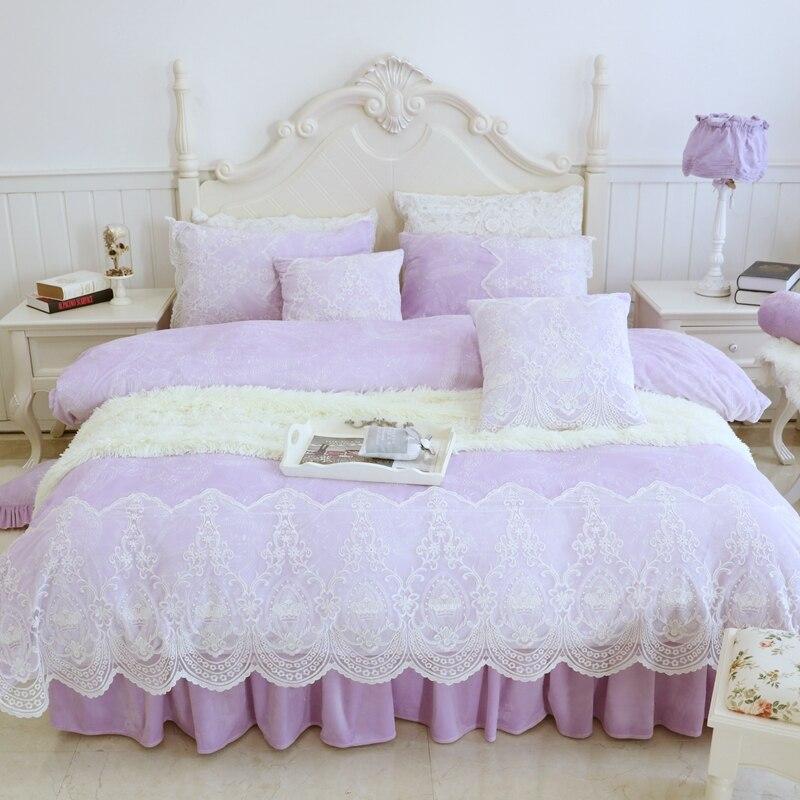 Luxury Purple Pink Gray Winter Warm Fleece Fabric Girl Bedding Set White Lace Duvet Cover Flannel Velvet Bed Skirt Pillowcases