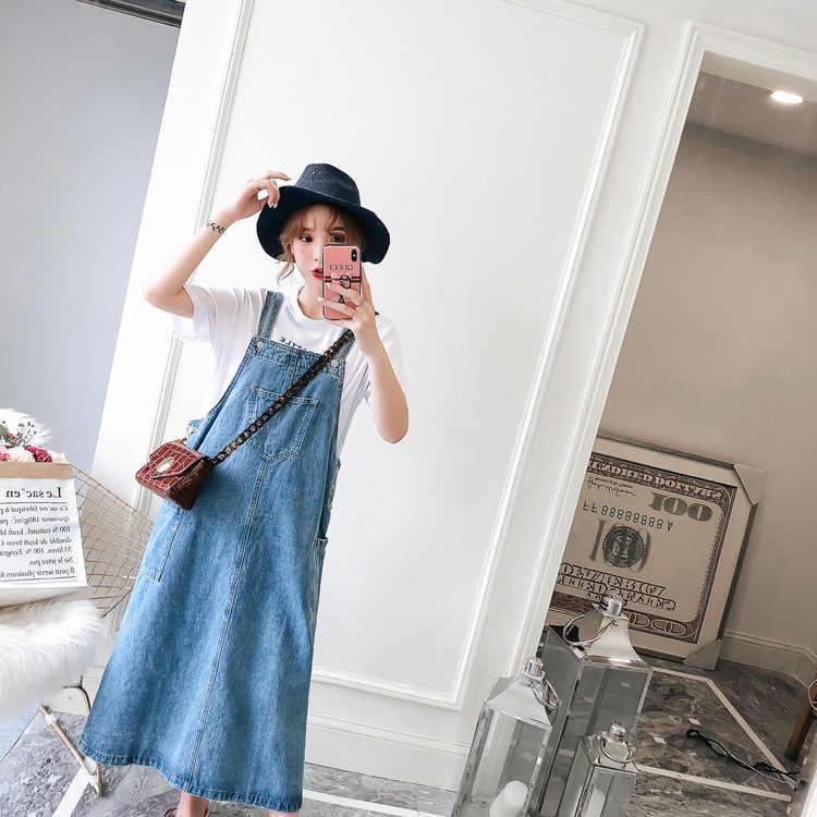 ee138266f55a7 Plus Size 5XL Korea Style Summer denim dress for women 2018 Woman casual  Vintage jeans dress Girls straps long Sundresses