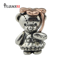 Lucky Clover Little Sister Bear Beads 925 Silver 4 Leaf Charm for DIY Jewelry Making Fits European Original Bracelet&Necklace