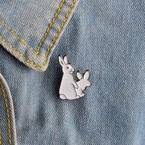 White Rabbits Brooch Evil Animal Bunny Enamel Metal Buckle Pin For Coat Shirt Bag Jacket Collar Lapel Pin Badge Jewelry Gift(China)