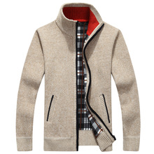Icpans Men Sweater Cardigan Cotton Cashmere Zip Khaki Black Winter Sweaters Zipper Male Thick Warm Plus Size XXXL 4XL 5XL