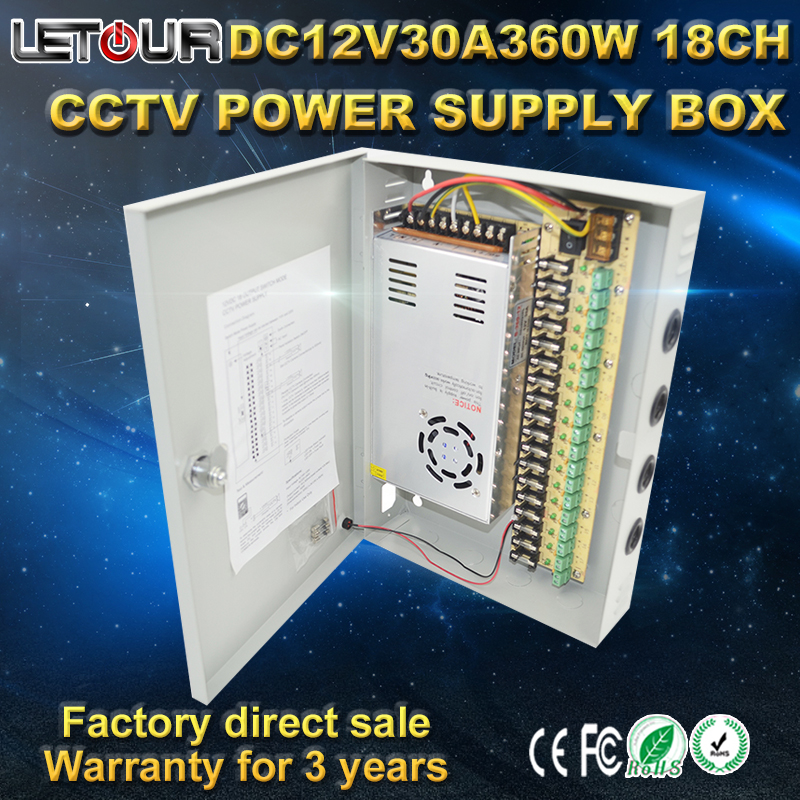 ФОТО 18CH DC 12V 30A CCTV Power Supply Box 360W Camera Centralized AC 110V~220V TO with Lightning Protection CE FCC Cert
