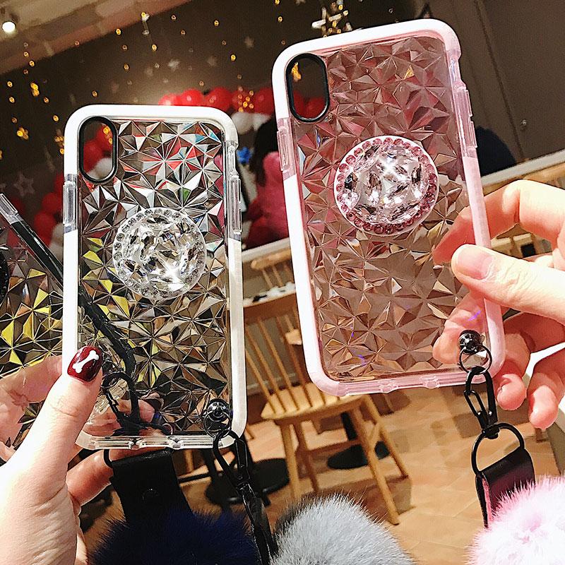 HTB1ZENDLNTpK1RjSZFMq6zG VXaW Luxury diamond cute hair ball lanyard bracket soft case for iphone 7 X XR XS 11 pro MAX 8 6S plus for samsung S10 S8 S9 Note A50