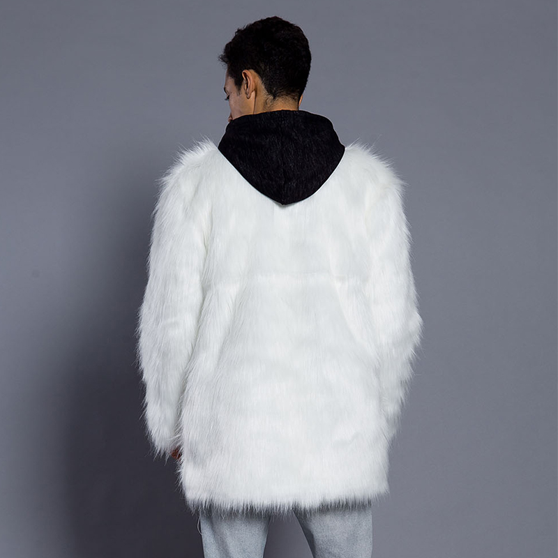 aa0e7a082 US $25.99 30% OFF Faroonee Faux Fur Coat for Men Winter Thicken Warm  Artificial Fur Outerwear Coat Collarless Hairy Fur Jackets White Black  6Q0317-in ...