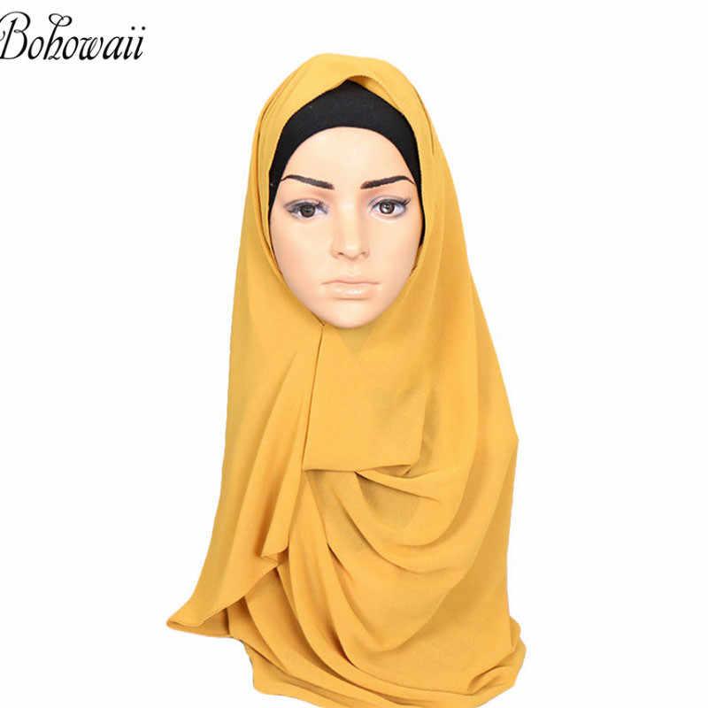 Bohowaii Chiffon Kepala Syal Instan Muslim Jilbab Siap Pakai Islam Jilbab Cap untuk Wanita Underscarf