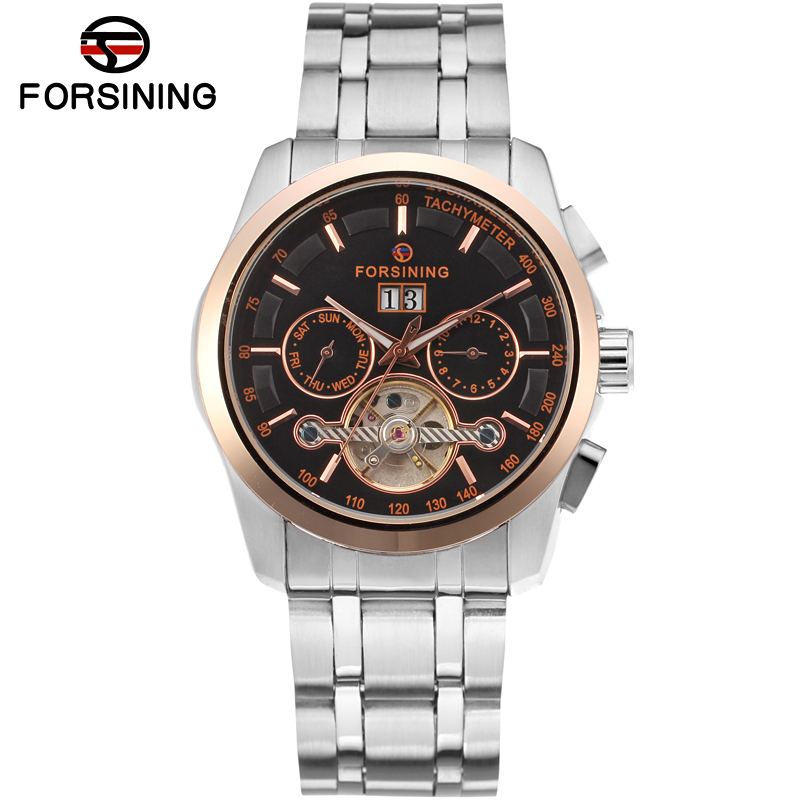 Luxury Tourbillion FORSINING stainless Steel Bracelet Men Black dial rose gold color bezel automatic movt watch /FSG9404M4T1 ultra luxury 2 3 5 modes german motor watch winder white color wooden black pu leater inside automatic watch winder
