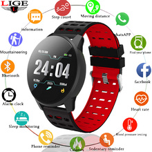 LIGE2019 New Smart fitness Watch Bluetooth Bracelet Sport Heart Rate Monitor Snapshot For Android iOS