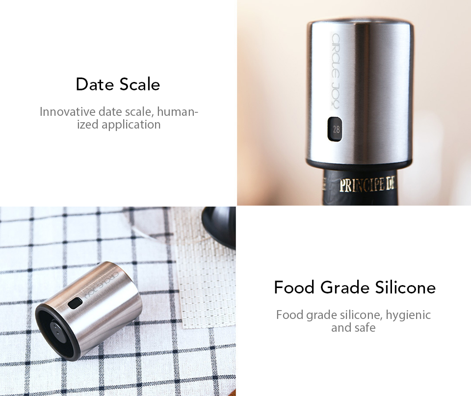 Xiaomi Youpin Circle Joy Wine Bottle Stopper with Vacuum Memory Function Food-grade Stainless Steel (9)