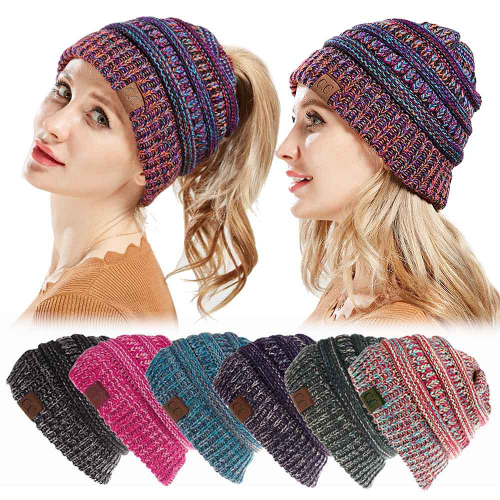 Women's   Beanie   Tail CC hats knitting winter warm messy bun hat Casual   Skullies   multi functional drop shipping