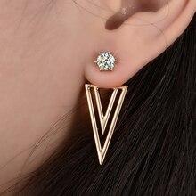 Elegant Gold Color Bling Zircon Triangle Ear Cuff Earrings D