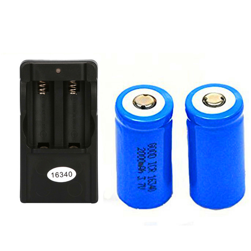 2x 2000mAh 16340 Rechargeable Li-ion Battery For LED Flashlight+CR123A Charger Drop Shipping since cr123a battery charger