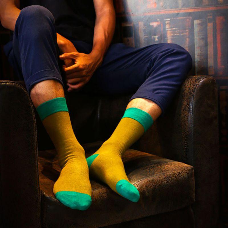 New Arrival Men Colorful Cotton Socks Striped Jacquard Art Socks Summer Fashion Hit Color Dot Long Happy Socks Mens Dress Sock