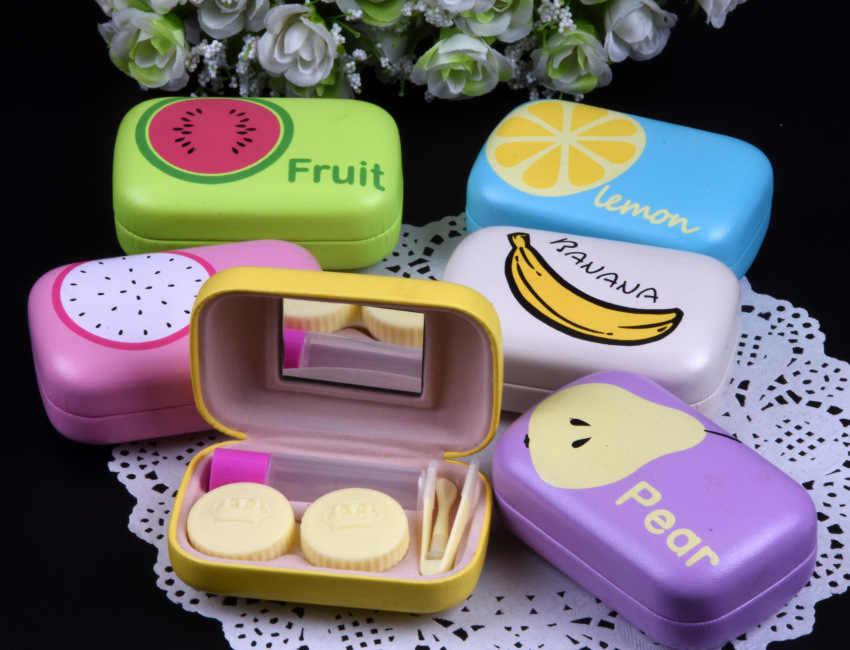 LIUSVENTINA милый апельсин груша Дракон банан и лимон киви арбуз кожаный ящик 6 типов контактные линзы Чехол Контейнер для линз