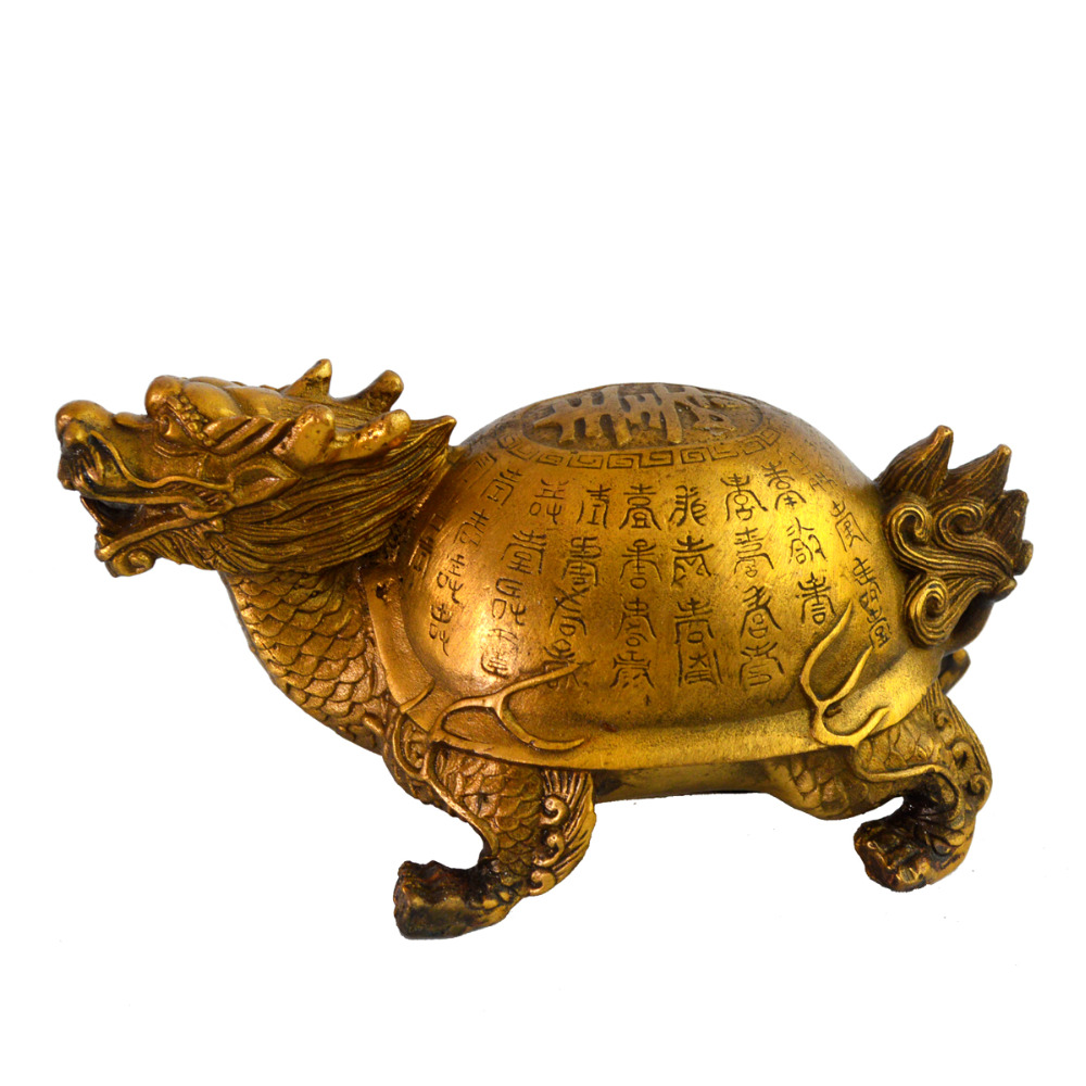 Feng Shui laiton longévité Dragon tortue Statue Figurine W gratuit Mxsabrina rouge chaîne Bracelet M4015