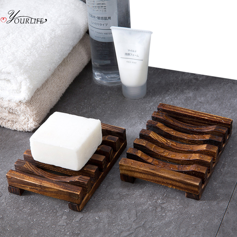 OYOURLIFE Natural Carbonation Mildew Resistance Wooden Soap Tray Bathroom Drain Soap Holder Case Soap Dish Bathroom Accessories