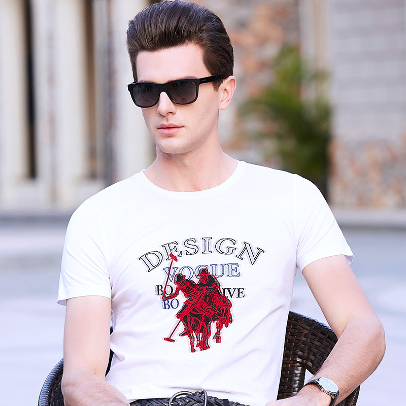 T-Shirt Men 2018 Spring Summer New Shor tSleeve Round Collar T Shirt Men Brand jacquard cut flowers Tee Shirts