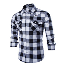 Mens Shirts Casual Slim Fit Plaid Shirt White Fashion Men's Shirt Leisure Long-sleeved Shirt Men Business Affair Casual Social