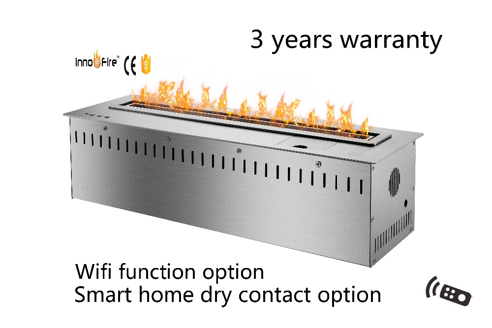 24 Inch Intelligent Wifi Modern Black And Silver Auto Bio Fireplace Insert