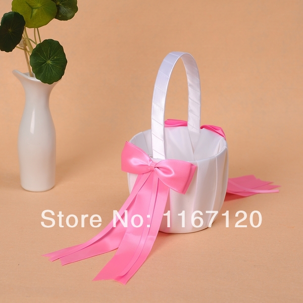 2pcslot white and hot pink bowknot satin wedding flower girl basket 2pcslot white and hot pink bowknot satin wedding flower girl basket wedding favors mightylinksfo Images