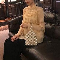 SHENGPALAE 2019 New Spring Fashion Women Bag Pearl Beaded Single Chain Hand Package WE11000