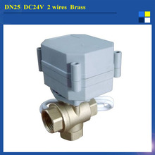 1″ DC24V 2 wires Water Control Valve 3 way electric ball valve  BSP/NPT, brass electric valve T type 1.0Mpa
