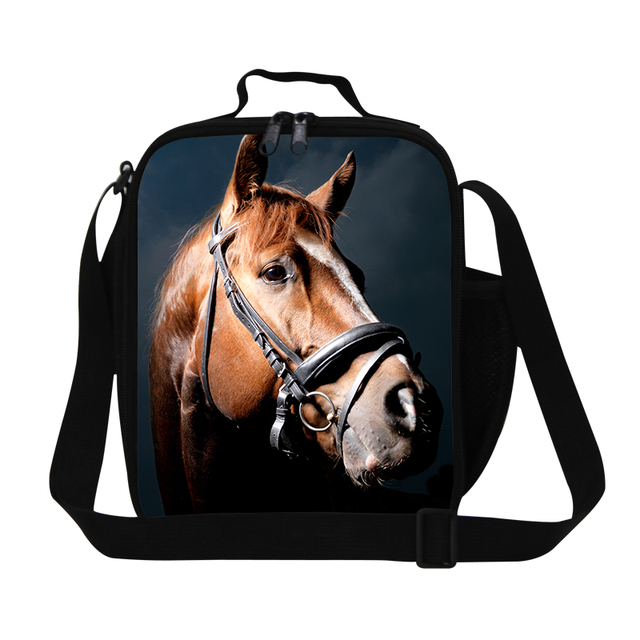 Animal insulated cooler bags for adult work,plush horse pattern lunch containers for kids,Crossbody Lunch Box bags for children