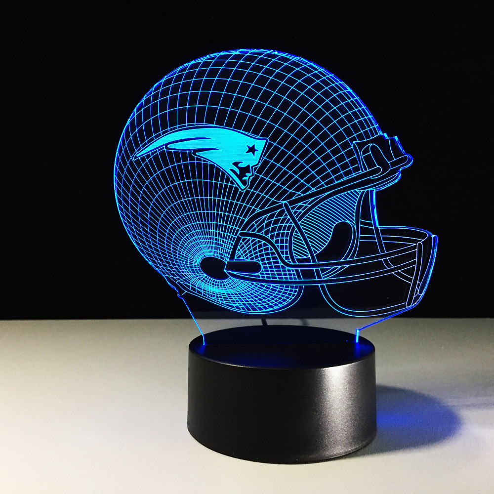 3D American Football Helmet Night Lights LED Team Rugby Cap 7 Color Changing USB Table Desk Lamp Sports Boy Bedside Decor Gifts