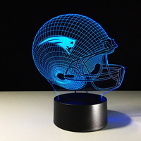 3D American Football Helmet Night Lights LED Team Rugby Cap 7 Color Changing USB Table Desk