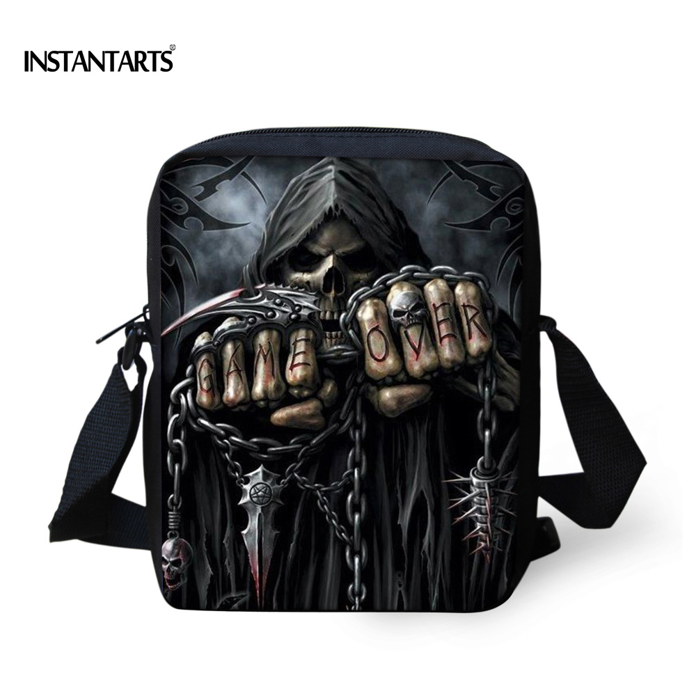 INSTANTARTS Vintage Anime Punk Skull Reaper Printing Men Small Messenger Bags Brand Designer Shoulder Bag Boys